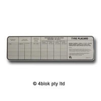 HDT VC Tyre Placard Decal - 90013