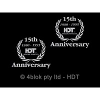 Commodore HDT 15th Anniversary 1/4 Crest Decal Sticker Silver Pair 1980 - 1995